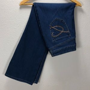 Chico's Platinum Dark Wash Short Boot Cut Jeans